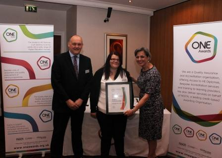 Kayleigh presented with her certificate by Louise Morritt, Chief Executive and Ray Snowdon, Chair at One Awards