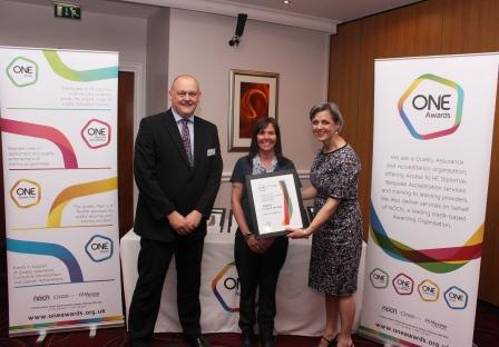 Maria was presented with her certificate by Louise Morritt, Chief Executive and Ray Snowdon Chair of One Awards