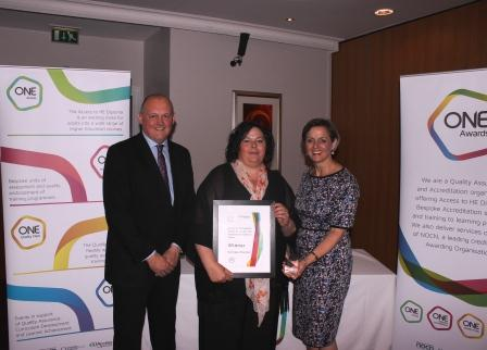 Dennese receives her award from Louise Morritt, Chief Executive and Ray Snowdon, Chair at One Awards
