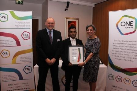 Helal was presented with his award by Louise Morritt, Chief Executive and Ray Snowdon, Chair at One Awards