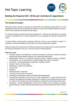 Hot Topic Learning - Meeting the Required 20% 'off-the-job' Activities for Apprentices