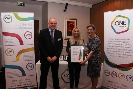 Whitney was presented with her award by Louise Morritt, Chief Executive and Ray Snowdon Chair of One Awards