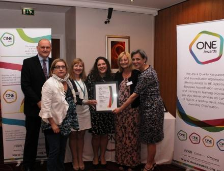 Members from Sunderland College Access to HE Team were presented with their certificate by Louise Morritt, Chief Executive and Ray Snowdon, Chair at One Awards