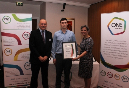 Joseph Renwick was presented with his award by Louise Morritt, Chief Executive and Ray Snowdon Chair of One Awards