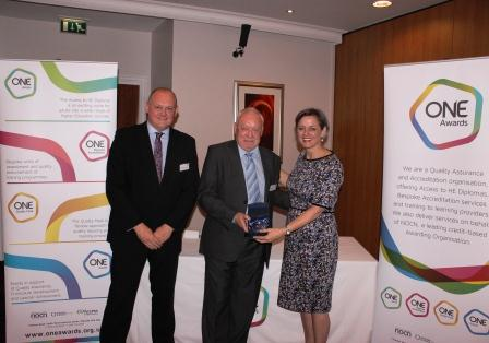 Ed Young outgoing Trustee with Louise Morritt, Chief Executive and Ray Snowdon, Chair at One Awards