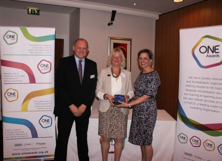 Hillary Bennison outgoing Trustee with Louise Morritt, Chief Executive and Ray Snowdon, Chair at One Awards